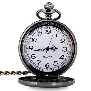 Luxury Design 12 Arabic Numbers Analog Flip Pocket Watch - BLACK