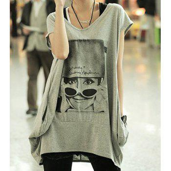 Loose Pretty Lady Print Short Sleeve Scoop Neck Pullover Cotton T-Shirt