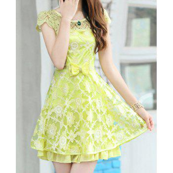 Women's Cute Rhinestones Double-Layered Hook Flower Hollow Out Organza Dress