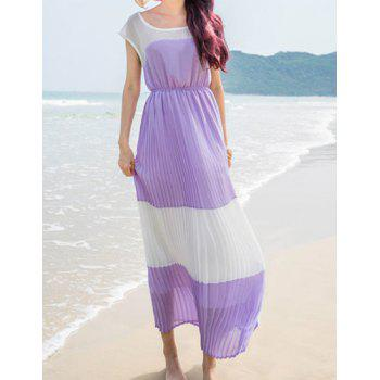 Refreshing Style Scoop Neck Short Sleeve Ruffles Design Spliced Chiffon Women's Dress