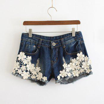 Women's Easy Matching Abraded Design Beaded Applique Denim Shorts