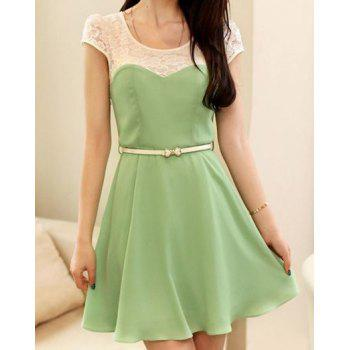 Women's Graceful Lace Splicing Color Matching Short Sleeves Chiffon Dress
