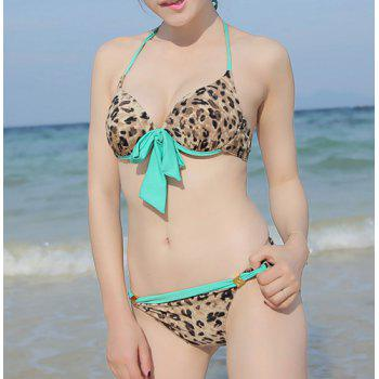 Sexy Halterneck Push-Up Leopard Print Three-Piece Swimsuit For Women - LEOPARD L