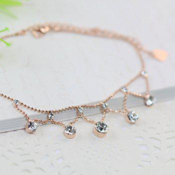 Rhinestone Pendant Beads Anklet - COLOR ASSORTED