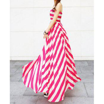 Trendy Nipped Waist Color Block Striped Strapless Maxi Dress - ROSE MADDER L