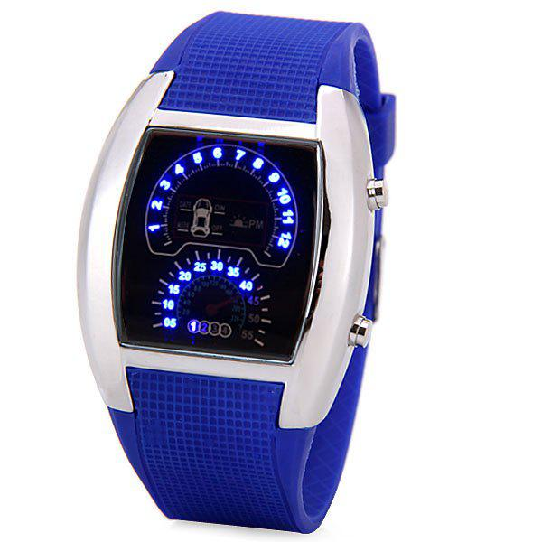 Luxury LED Newest Car Watch with Digital Indicate Day/Date and Rubber Watchband - SAPPHIRE BLUE