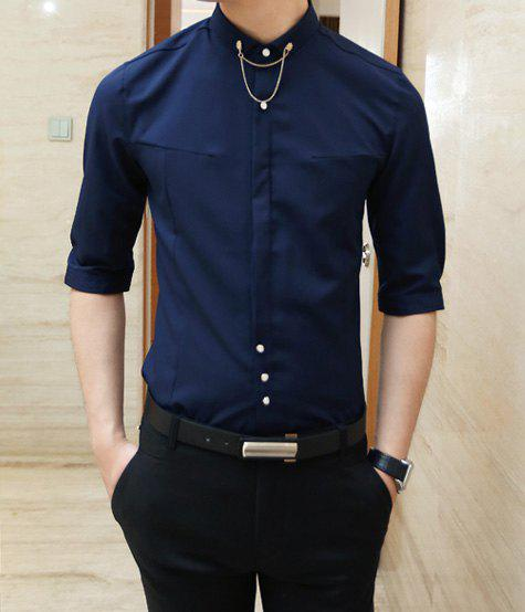 Fashion Solid Color Button And Chain Design Shirt Collar