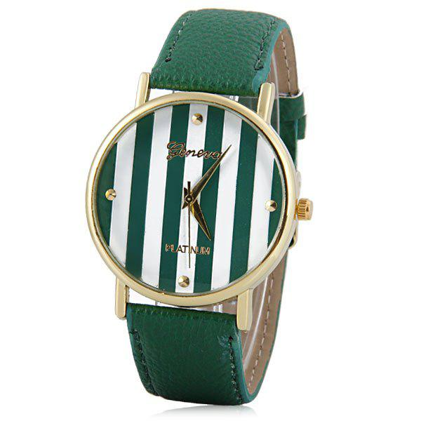 Colorful Stripes Leisure Watch with Round Dial and PU Leather Watch Band for Women - GREEN