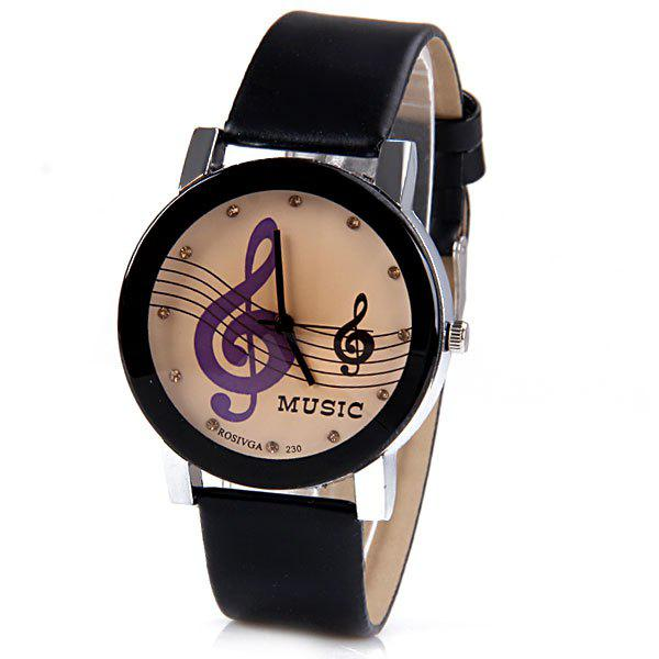 Rosivga Quartz Watch with Diamonds Analog Indicate Leather Watch Band Music Notes Pattern for Women - BLACK