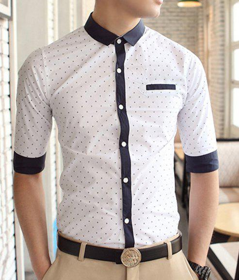 Casual style shirt collar stains print color block cuffs for Half sleeve t shirts for men