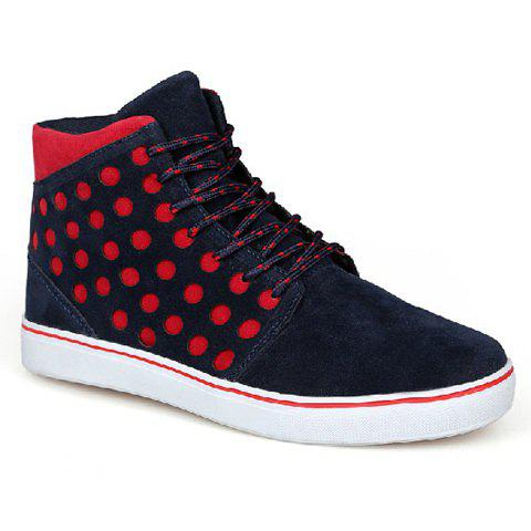 Stylish Dots and Suede Design Men's Casual Shoes - BLUE 42