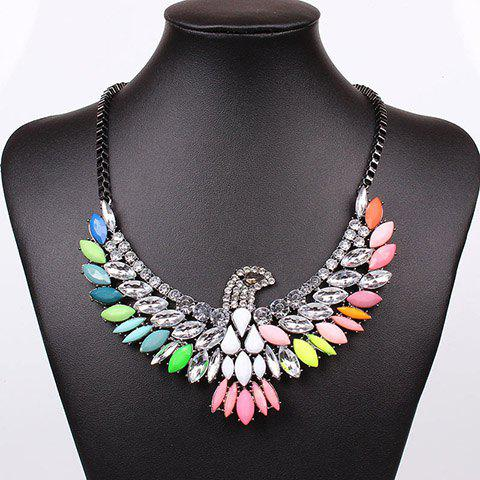 Exaggerated Chic Style Colorful Gem and Rhinestone Decorated Eagle Shape Necklace - AS THE PICTURE