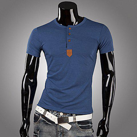 Fashionable Round Neck PU Leather Splicing Buttons Embellished Short Sleeves Polyester T-shirt For Men
