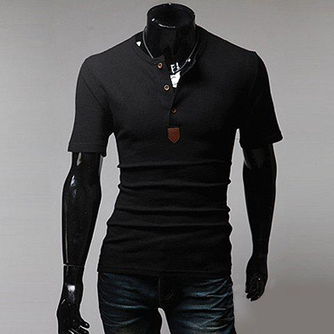 Fashionable Round Neck PU Leather Splicing Buttons Embellished Short Sleeves Polyester T-shirt For Men - BLACK XL