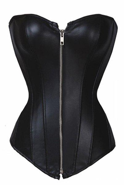Sexy Slimming Zippered PU Leather Corset For Women - BLACK L