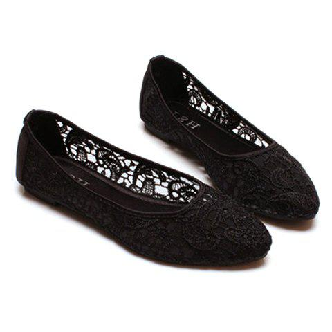Sexy Lace and Splice Design Flat Shoes For Women - BLACK 40