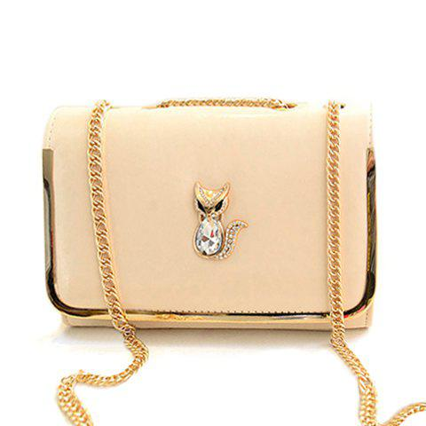 Elegant Chains and Fox Pattern Design Crossbody Bag For Women - OFF WHITE