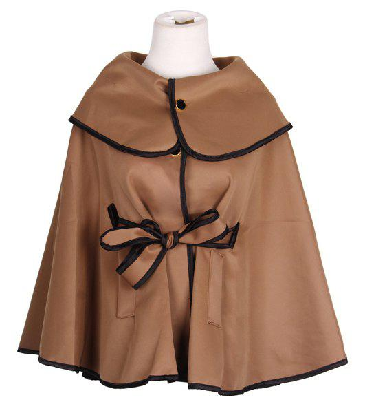 Modern Style Big Turn-down Collar Solid Color Cotton Blend Women's Cloak - DARK BROWN ONE SIZE
