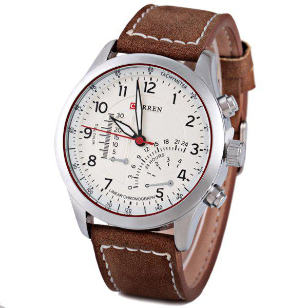 Curren Stylish Quartz Watch with Analog Indicate Leather Watchband for Men - BROWN