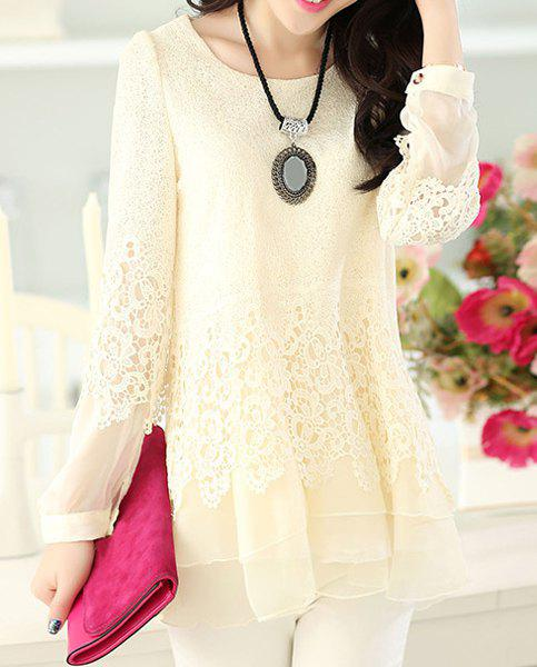 Women's Sweet Scoop Neck Lace Splicing Long Sleeve T-Shirt - OFF WHITE M