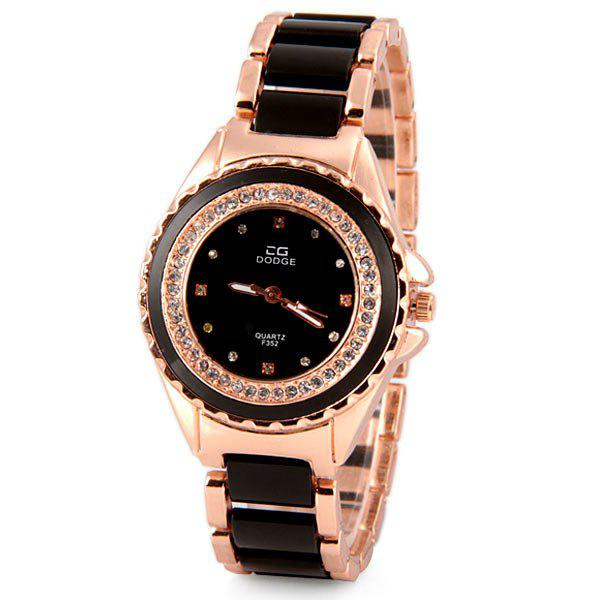 Luxury Quartz Watch with Diamonds Analog Indicate Steel Watchband for Women - BLACK
