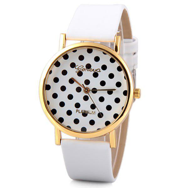 Geneva Luxury Quartz Watch with Diamonds and Small Dots Analog Indicate Leather Watch Band for Women цена 2016