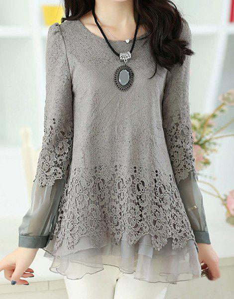 Women's Sweet Scoop Neck Lace Splicing Long Sleeve T-Shirt - GRAY XL
