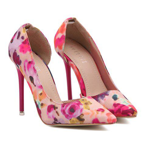 Sweet Pointed Toe and Floral Print Design Pumps For Women, PINK in ...