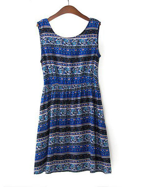 Ethnic Style Scoop Collar Sleeveless Tiny Floral Print Backless Women's Sundress - DEEP BLUE M