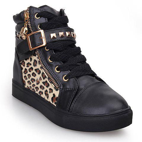 Stylish Rivets and Buckle Design Flat Shoes For Women - LEOPARD 39