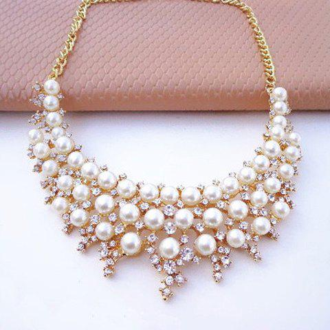 Faux Pearl Rhinestone Layered Necklace - AS THE PICTURE