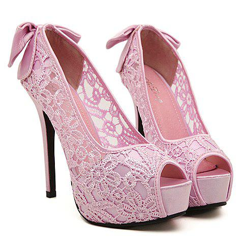 Sweet Bowknot and Flower Embroidery Design Peep Toed Shoes For Women - PINK 36