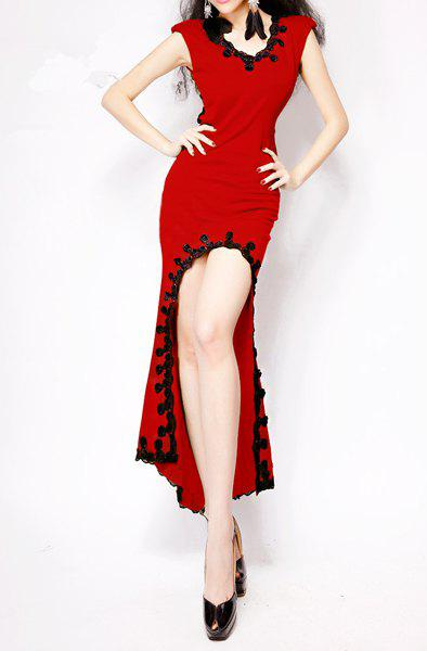 Irregular V-Neck Sleeveless Sexy Style Cut Out Cotton Blend Women's Dress - RED ONE SIZE