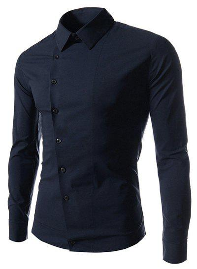 Fashion Solid Color Oblique Button Shirt Collar Long Sleeve Slimming Polyester Shirt For Men - DEEP BLUE 170