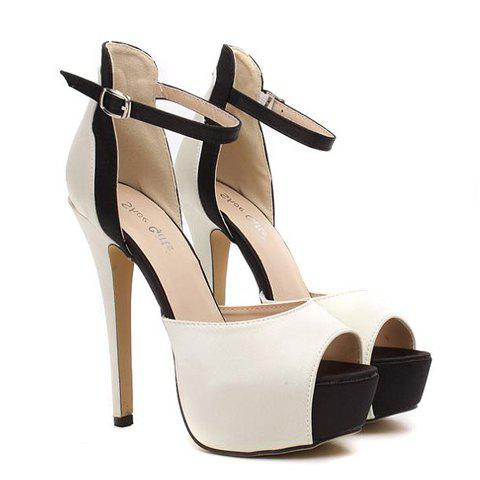 Gorgeous Satin and Color Block Design Sandals For Women