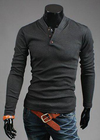 Fashion Button Design Stand Collar Long Sleeve Slimming Polyester Sweatshirt For Men
