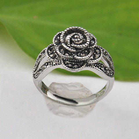 Silver Plated Rhinestone Flower Ring - SILVER ONE SIZE