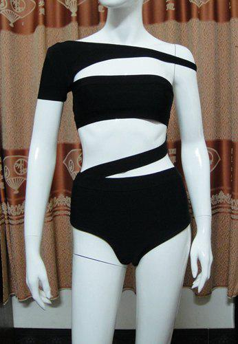 Women's Stylish High Waisted Off-The-Shoulder Solid Color Cut Out Swimwear - BLACK L