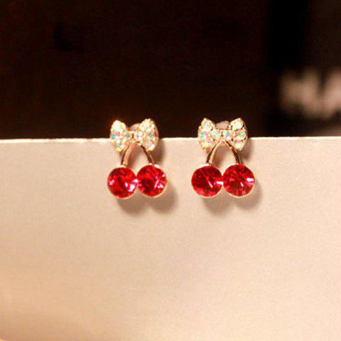 Pair of Rhinestone Cherry Earrings - RED