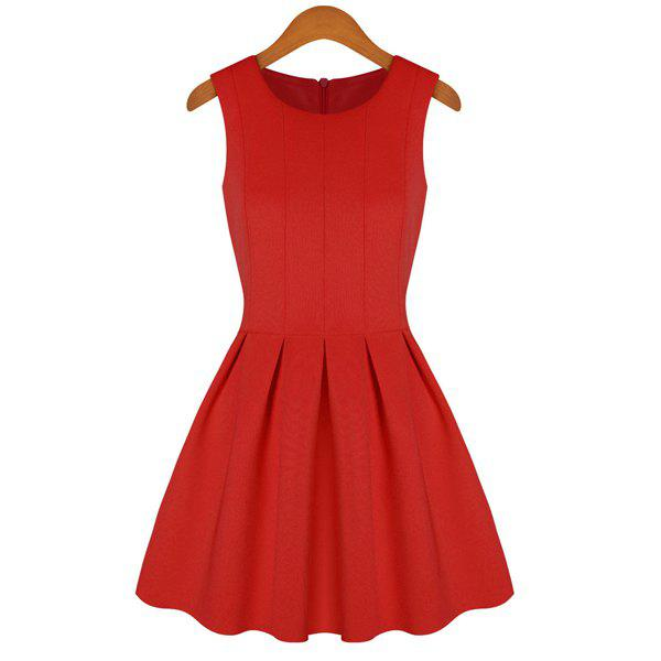 Solid Color Flouncing Scoop Collar Sleeveless Simple Style Women's Sundress - RED S