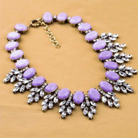 Fresh Style Faux Crystal Leaf Embellished Light-Colored Faux Gemstone Alloy Necklace For Women - COLOR ASSORTED