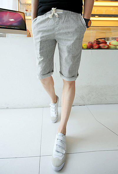 Summer Style Slimming Drawstring Straight Leg Cotton Men's Shorts - LIGHT GRAY L