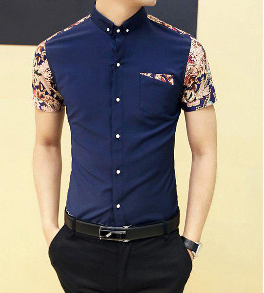 Fashion Style Turn-down Collar Floral Print Color Block Short Sleeves Cotton Shirt For Men - PURPLISH BLUE M