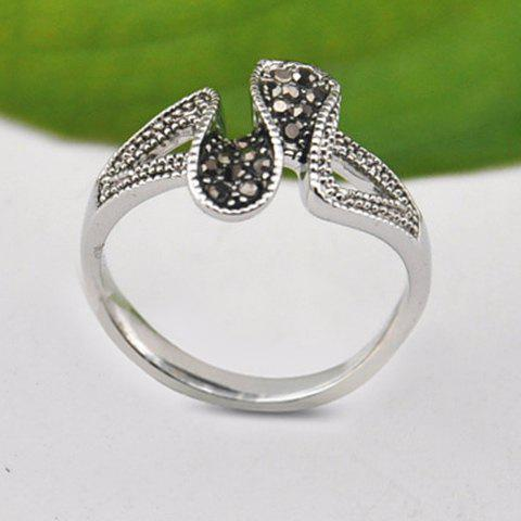 Chic Rhinestone Curved Ring For Women - SILVER ONE SIZE