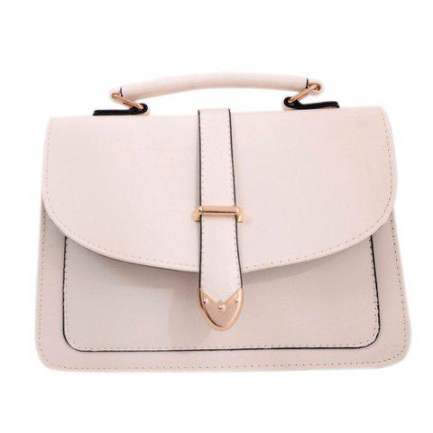 Sweet Candy Color and PU Leather Design Tote Bag For Women - WHITE