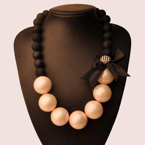 Bowknot Faux Pearl Necklace - COLOR ASSORTED