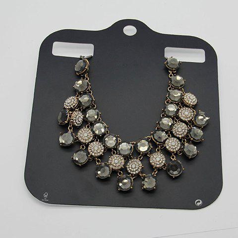 Rhinestone Faux Gem Embellished Necklace - AS THE PICTURE
