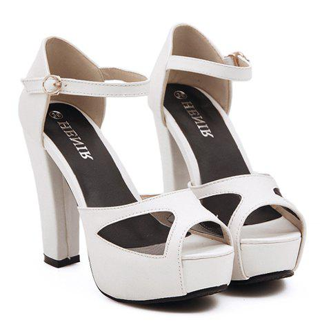 Party Mesh and Chunky Heel Design Sandals For Women - WHITE 36