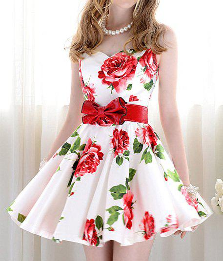 Vintage Sweetheart Neckline Floral Print Sleeveless Dress For Women - AS THE PICTURE L