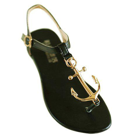 Stylish Flip-Flop and Metal Design Sandals For Women - BLACK 38